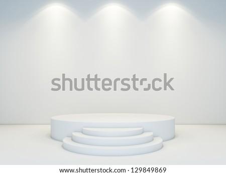 An empty round stage set - stock photo