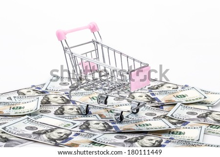 an empty shopping cart on money background - stock photo