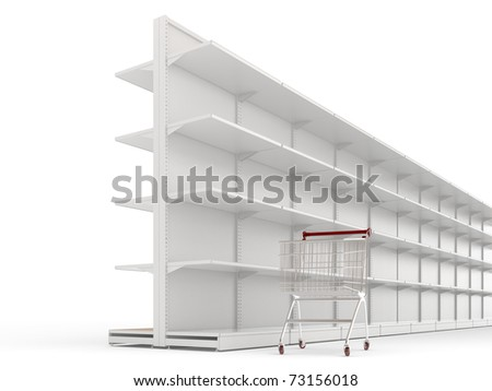 An empty shopping trolley cart and shop shelves isolated on a white background - stock photo