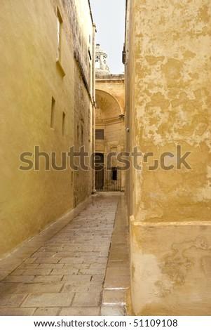 An empty street in the Medina District, Malta - stock photo