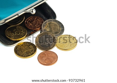 an empty wallet with a few euro coins. photo icon on debt and poverty - stock photo