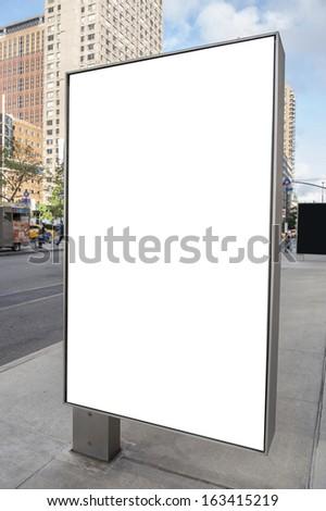 An empty white billboard in New York city - stock photo