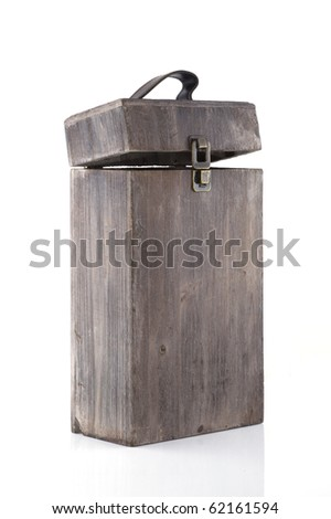 An empty wine box on a white background. - stock photo