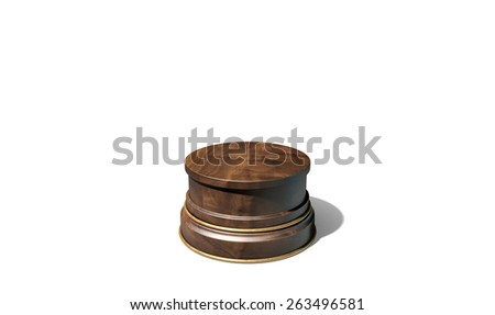 An empty wood and brass trophy base on an isolated black studio background - stock photo