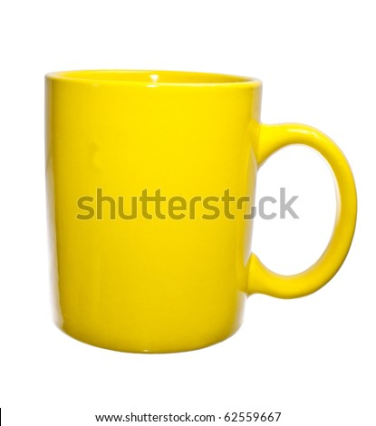 An empty yellow cup, isolated on white