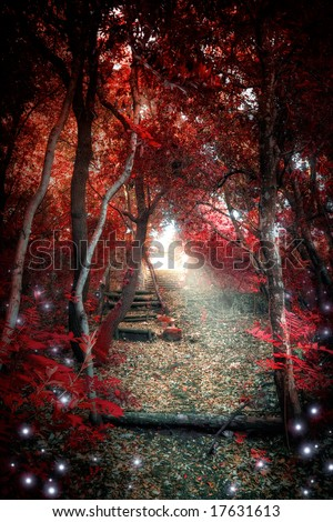 An enchanted red forest with a fantasy atmosphere