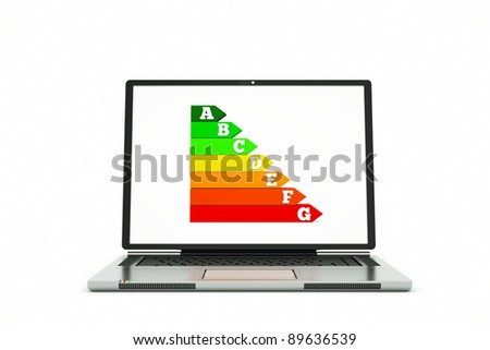 an energy efficiency chart isolated on white - stock photo
