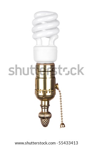 An energy efficient spiral light bulb and brass light socket with pull chain isolated on white. - stock photo