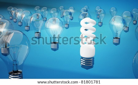 an energysaving lamp burns longer and brighter than incandescent lamps - stock photo