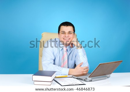 An engineer at work on blue background