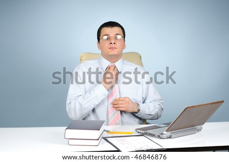 An engineer at work on gray background