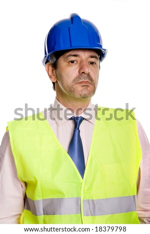 An engineer with blue hat, isolated on white