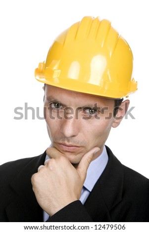 An engineer with yellow hat, isolated on white