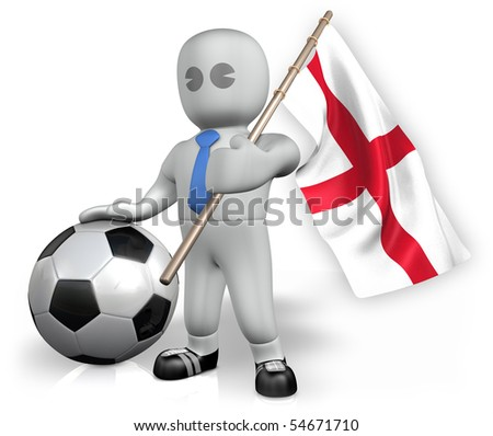 An England football fan with a ball and a flag - stock photo
