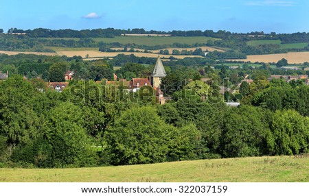 An English Landscape in Kent with Town of Westerham in the valley
