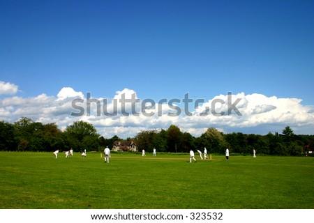An English village cricket match - stock photo