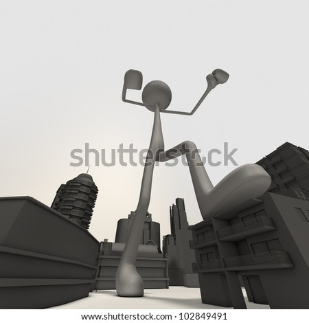 an enormous figure is attacking the city - stock photo