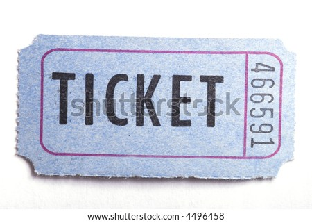 An entrance ticket in closeup on a white background - stock photo