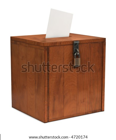 An envelope going in the slot of a ballot box - stock photo