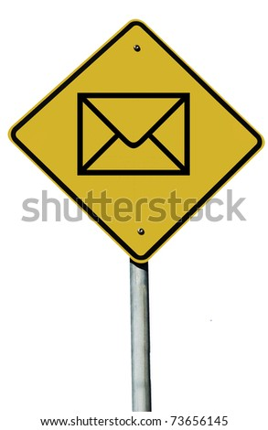 An envelope sign isolated on a plain white background. - stock photo