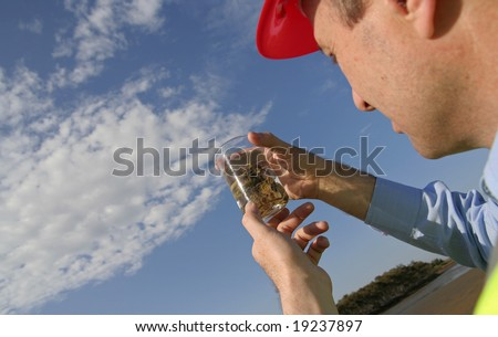 An environmental engineer examining a vegetation sample in a glass beaker, showing the beautiful blue sky, wearing an yellow reflective vest and red safety helmet. - stock photo