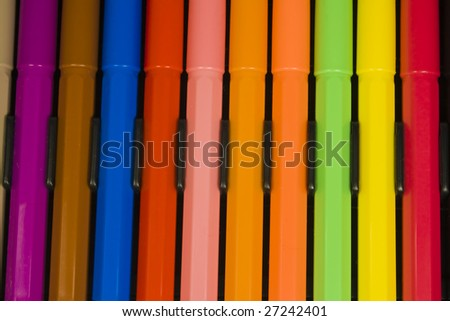 An equal number of bright felt-tip pens in packing