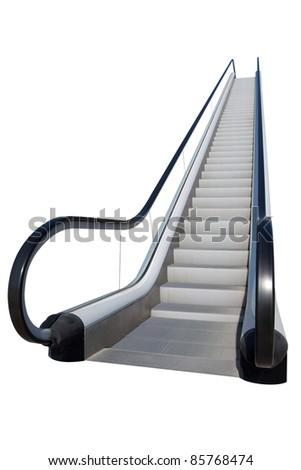 An escalator isolated on white - stock photo
