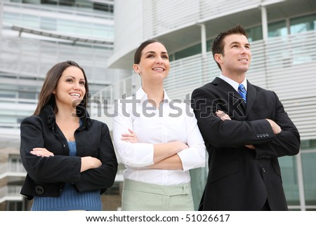 An ethnic  man and woman business team at office building