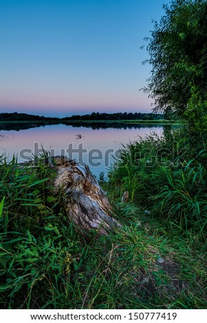 An evening image of James A Reed Memorial Wildlife Area in the Kansas City, Missouri Area.  It is one of many conservation lands for fishing and other relaxing activities. - stock photo