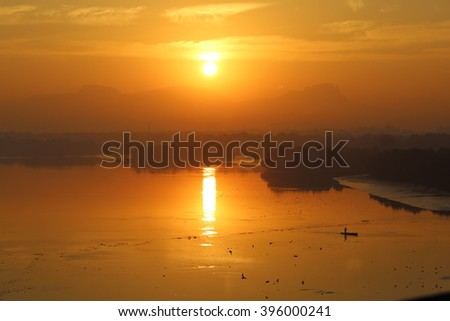 An evening scene from the backwaters 0f india - stock photo