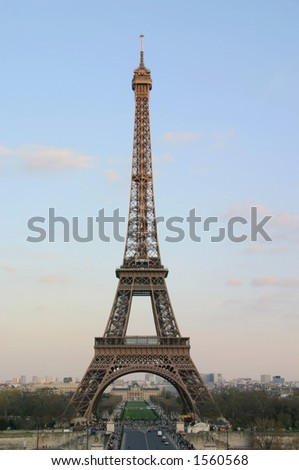 An evening view of the Eiffel Tower looking across the Pont D'Lena - Paris, France - stock photo