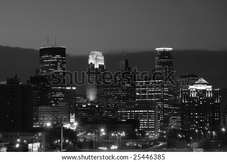 An evening view of the Minneapolis skyline - stock photo