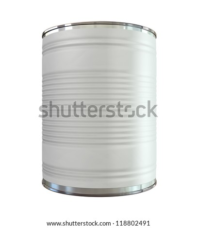 An everyday aluminum tin can with a blank generic label on an isolated background - stock photo