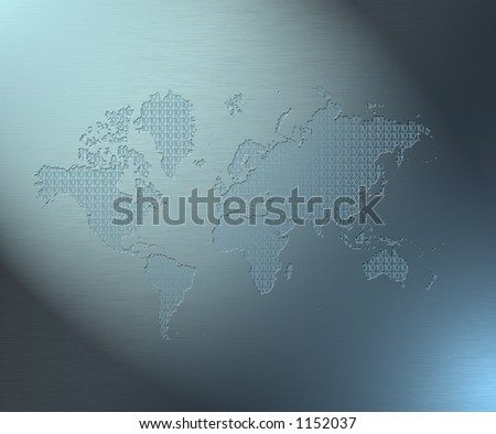 An excellent image:  a map of the earth filled with binary code - stock photo
