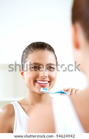 an excellent morning mood and daily care - stock photo