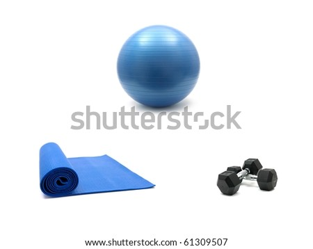 An exercise mat, fitball and hand weights isolated against a white background - stock photo