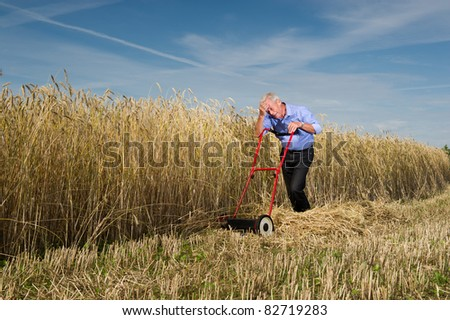 An exhausted senior businessman pauses for a breather while mowing and harvesting a field of ripe golden grain with a manual push type lawnmower, conceptual of business perseverance and determination - stock photo