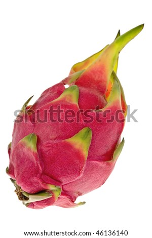 An exotic asian dragon fruit against a white background - stock photo