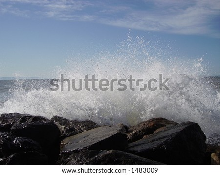 An explosion from the sea. - stock photo