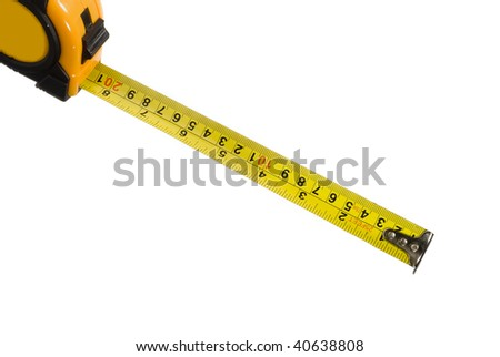 an extended measuring tape isolated on a white background