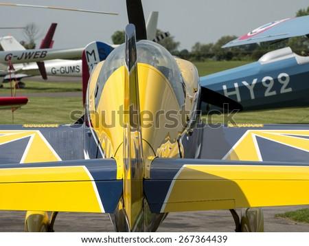 an Extra 200 aerobatic sport aircraft at Breighton airfield,Yorkshire.UK.taken 01/06/2014 - stock photo