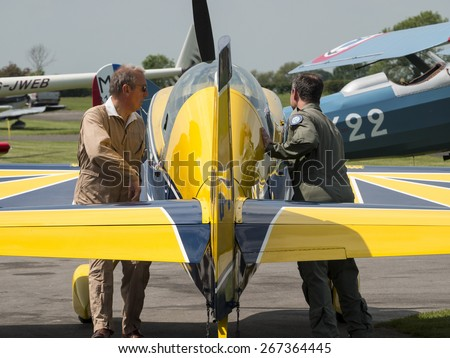 an Extra 200 aerobatic sport aircraft at Breighton airfield,Yorkshire.UK.taken 01/06/2014 - stock photo