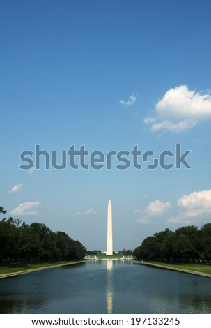An extreme long shot of The Washington Monument.
