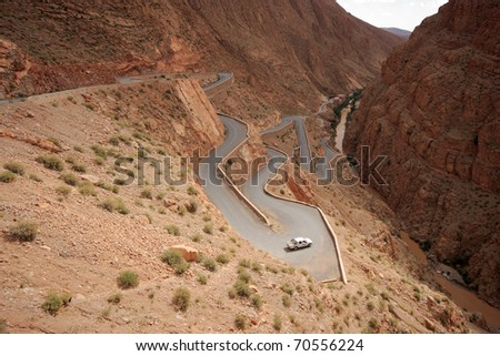 An Extreme Winding Road In Morocco - stock photo