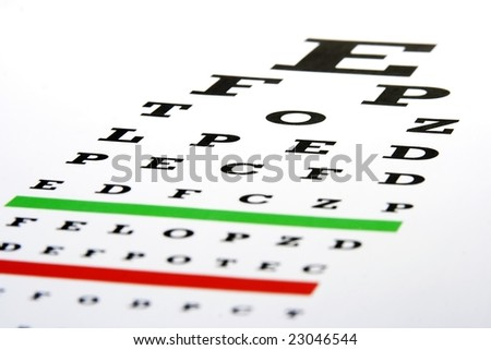 An eye chart in a plain white background. - stock photo