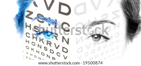 An eye test chart on a womens face - stock photo