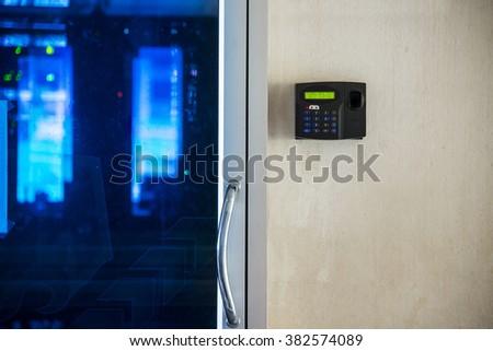 An Fingerprint machine server safety . - stock photo