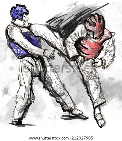 An full sized hand drawn illustration (original drawing on white) from series Martial Arts: TAEKWON DO (is a Korean martial art. It combines combat and self-defense techniques with sport and exercise) - stock photo