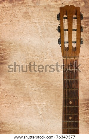 An guitars headstock including tuning pegs - stock photo