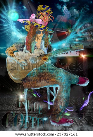An hand drawn illustration and mixed media picture, poster. Jazz and Blues Music. Musician: Guitar Player - stock photo